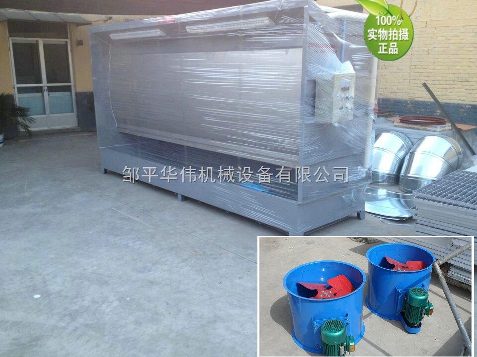 水帘机是利用水来捕捉漆雾的一种设备。它一般由排风装置、供水装置、捕集漆雾水帘和喷淋装置、气水分离装置、风道等构成。 水帘机处理漆雾的基本过程是:在排风机引力的作用下,含有漆雾的空气向水帘机的内壁水帘板方向流动,一部分漆雾直接接触到水帘板上的水膜而被吸附,一部分漆雾在经过水帘板上淌下的水帘时被水帘冲刷掉,其余未被水膜和水帘捕捉到的残余漆雾在通过水洗区和清洗区时被清洗掉。应当指出的是目前水帘机中所设置的漆雾处理装置仅能处理漆雾中的树脂成分,对于其中的溶剂蒸气,由于其很难溶于水,则不能得到处理,仍然要排入大气中